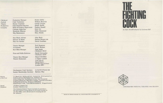 Cast List - The Fighting Cock - 1966 - 1 of 2