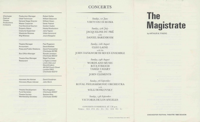 Cast List - The Magistrate - 1969 - 1 of 2