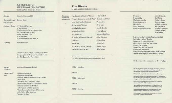 Cast List  - The Rivals  - 1971- 2 of 2