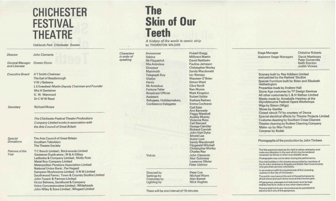 Cast List - The Skin of Our Teeth - 1968 - 2 of 2