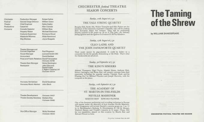 Cast List  - The Taming of the Shrew  - 1972- 1 of 2