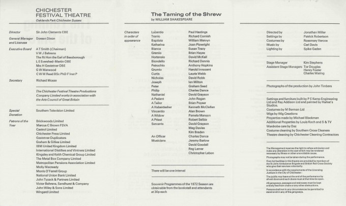 Cast List  - The Taming of the Shrew  - 1972- 2 of 2
