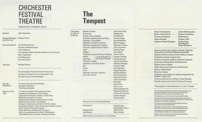 Cast List - The Tempest - 1968 - 2 of 2