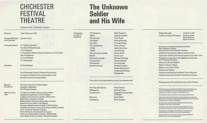 Cast List - The Unknown Soldier and His Wife - 1968 - 2 of 2