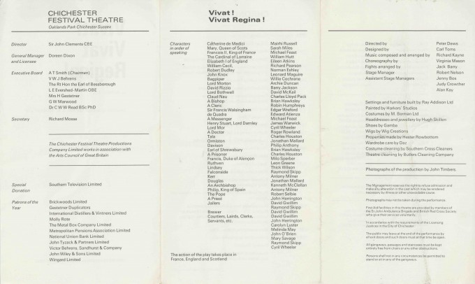 Cast List  - Vivat! Vivat Regina - 1970 - 2 of 2