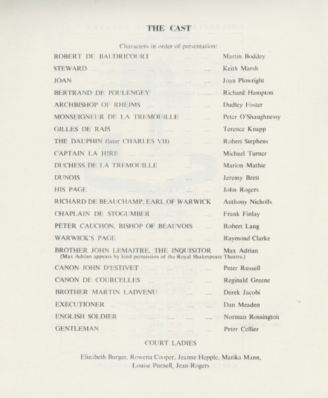 Cast list - Saint Joan - 1963