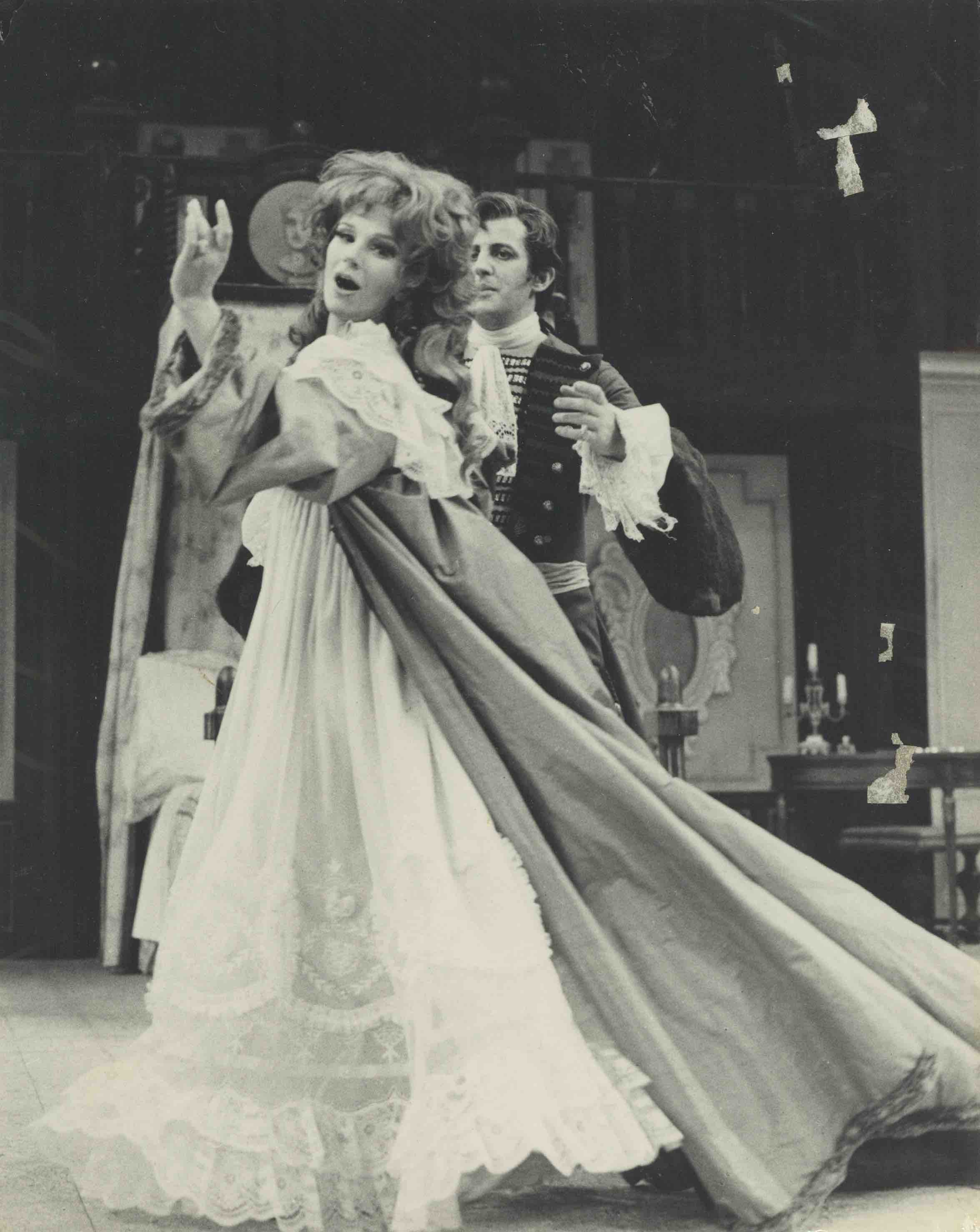 Production photograph - The Beaux Stratagem - Anton Rodgers, Fenella Fielding - Photographer Zoe Dominic - 1967 - WSRO - Dimensions unknown - B