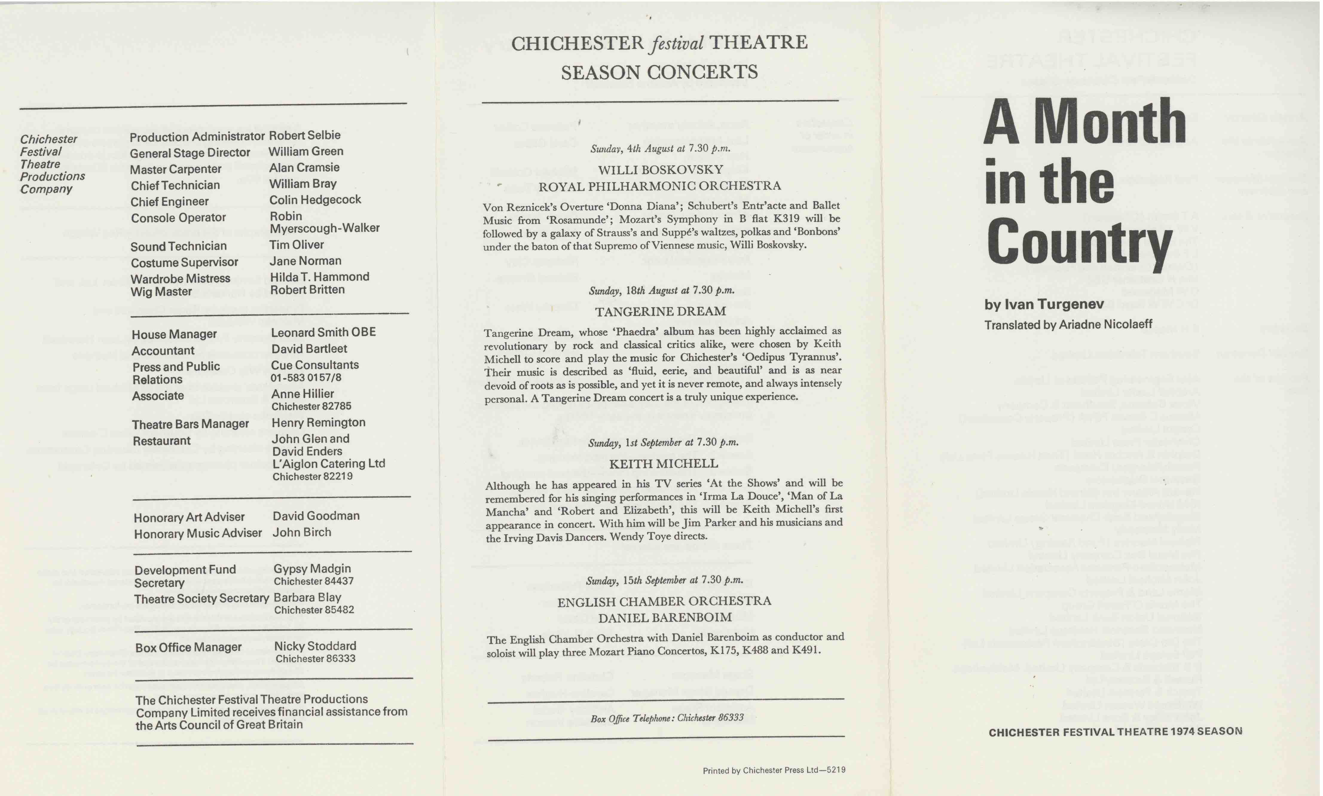 Cast List - A Month in the Country  - 1974- 1 of 2