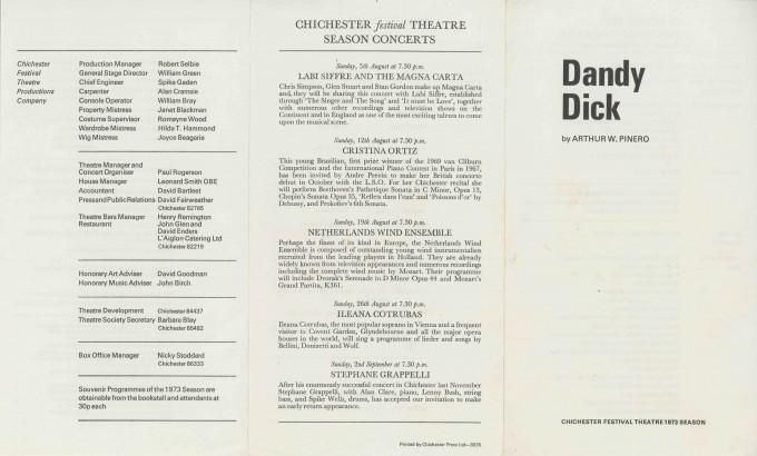 Cast List  - Dandy Dick  - 1973- 1 of 2
