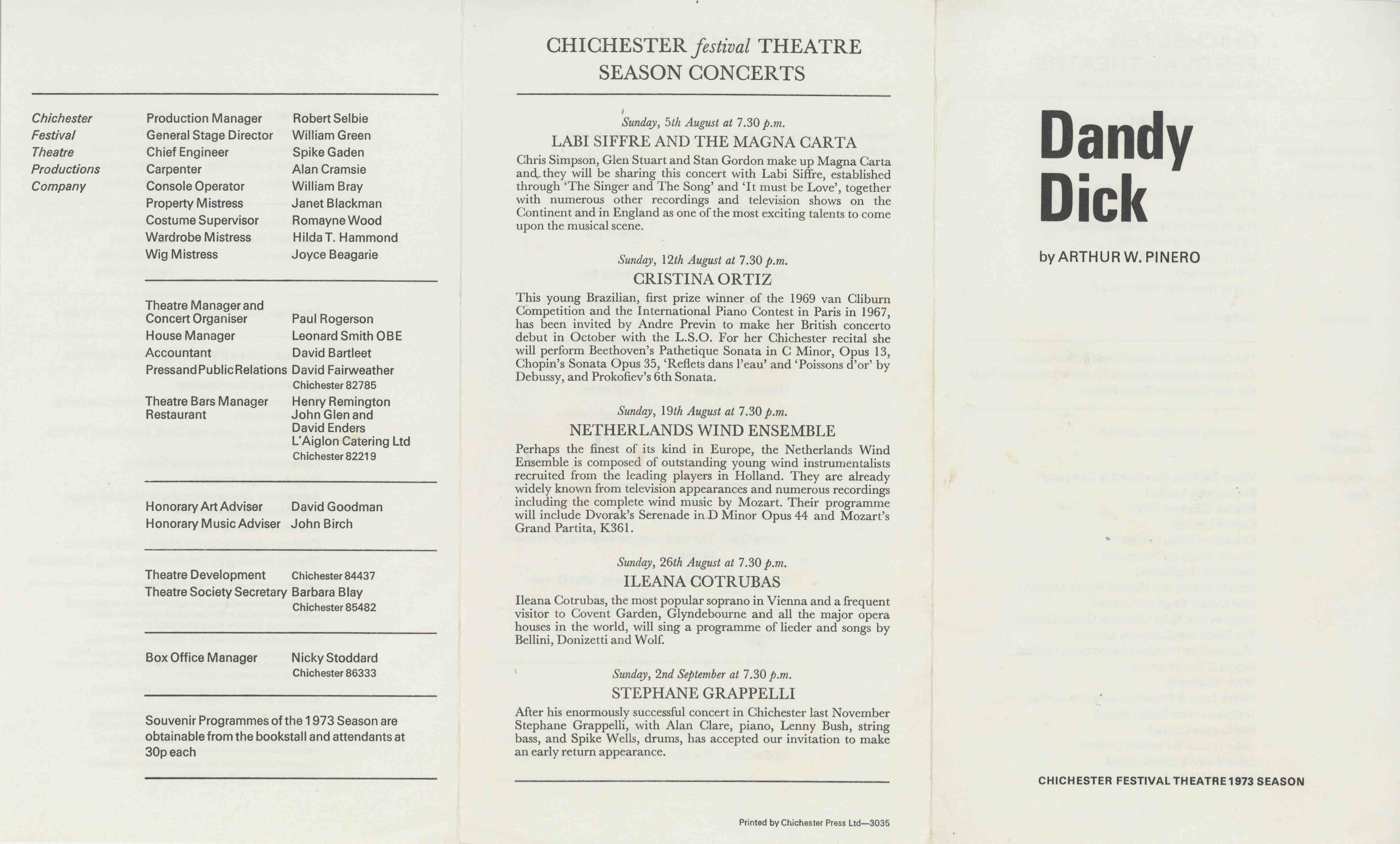 Cast List  - Dandy Dick  - 1973- 1 of 2
