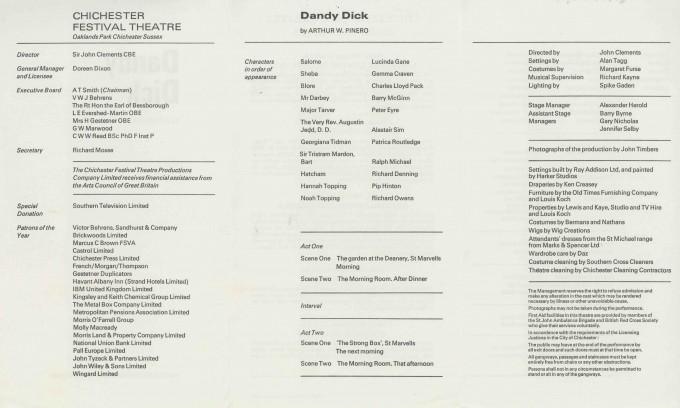 Cast List  - Dandy Dick  - 1973- 2 of 2