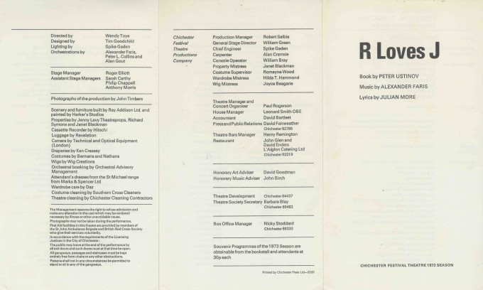 Cast List - R loves J  - 1973- 1 of 2