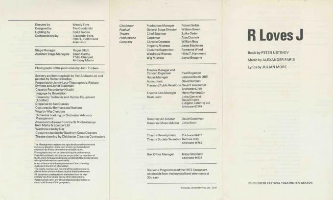 Cast List - R loves J  - 1973- 1 of 2