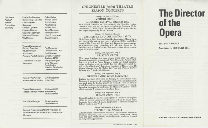 Cast List - The Director of the Opera  - 1973- 1 of 2