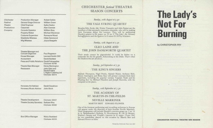 Cast List  - The Lady's not for Burning  - 1972- 1 of 2
