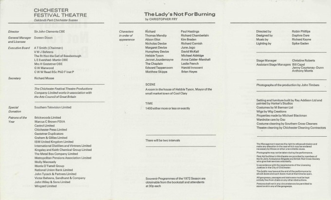 Cast List  - The Lady's not for Burning  - 1972- 2 of 2