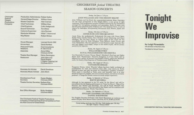 Cast List - Tonight we Improvise  - 1974- 1 of 2