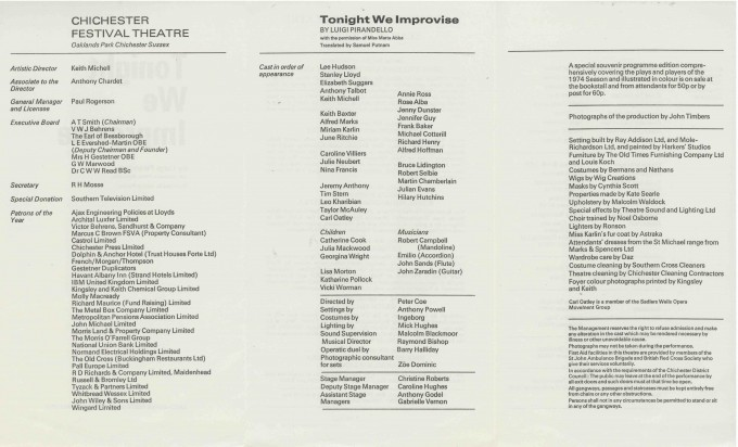 Cast List - Tonight we Improvise  - 1974- 2 of 2