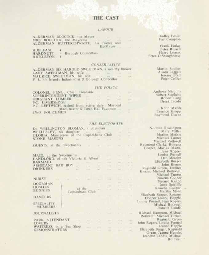 Cast list - The Workhouse Donkey - 1964 - 1 of 2