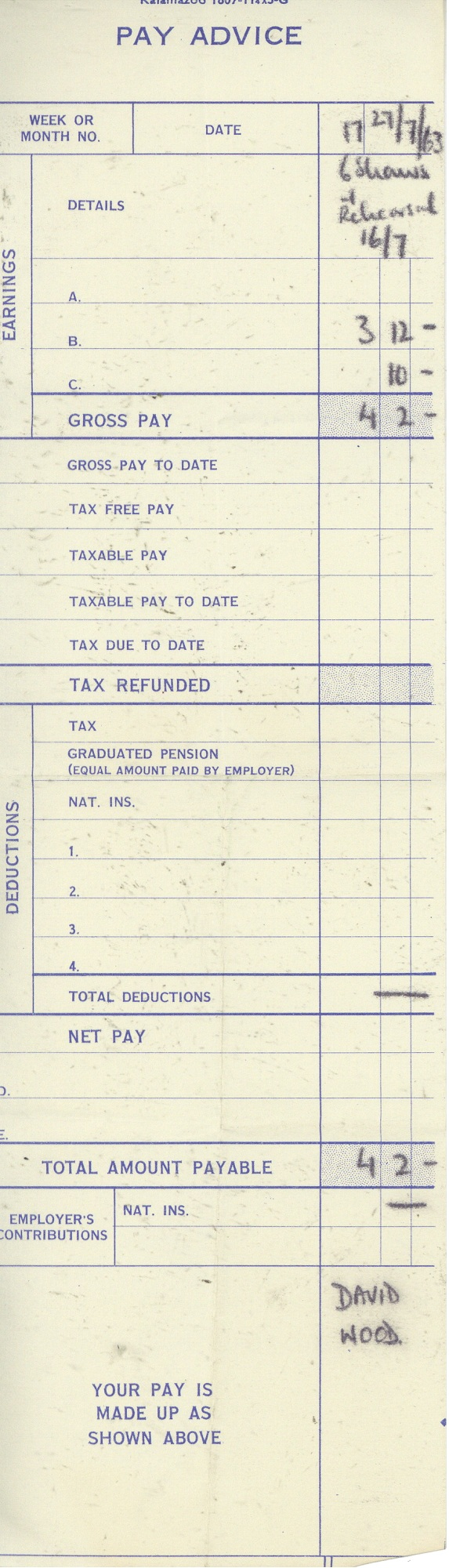Pay slip - Saint Joan, Workhouse Donke, David Wood - 27 Jul 1963