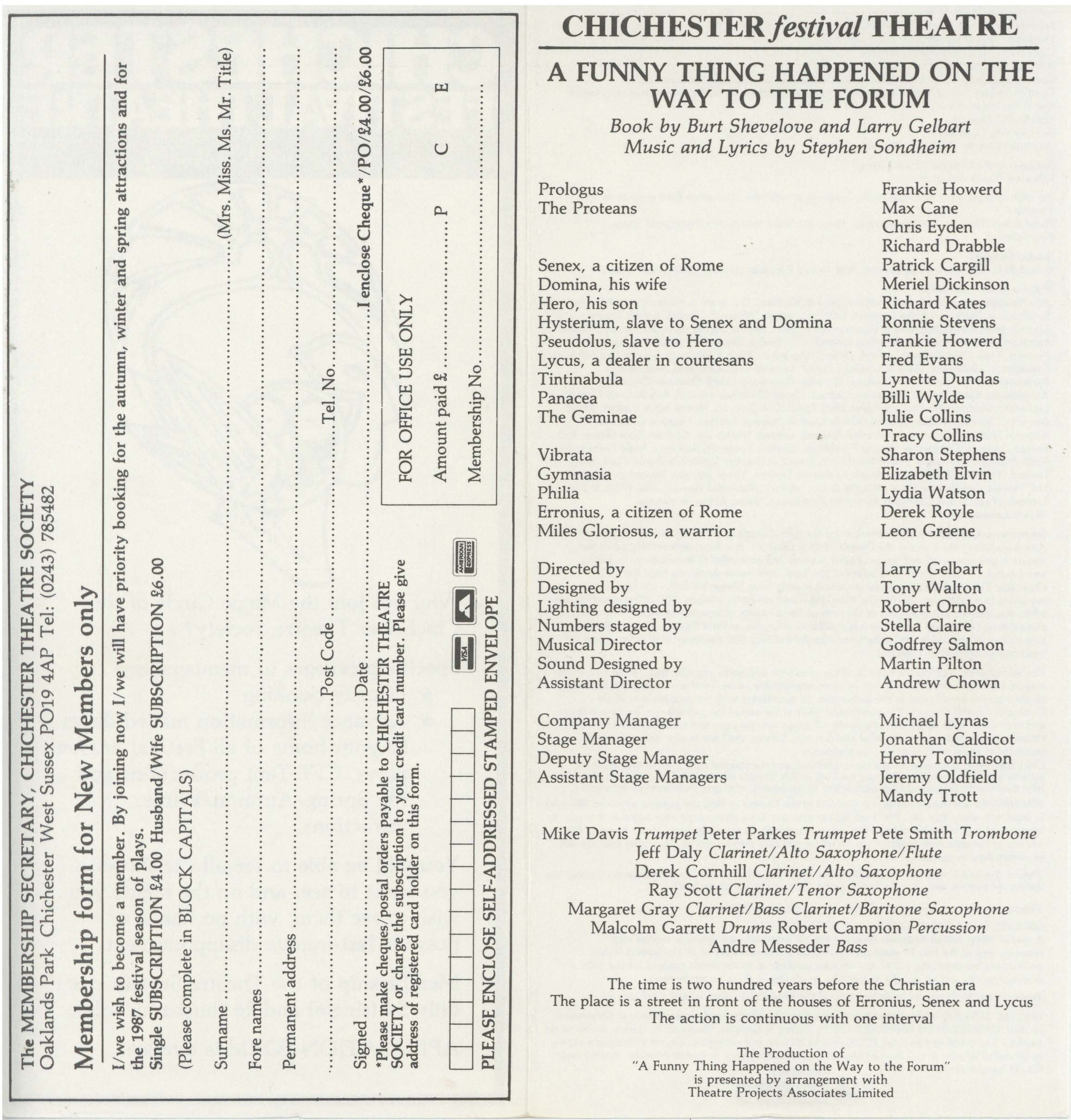 Cast List - A Funny Thing Happened On The Way To The Forum - 1986 - 2 of 2