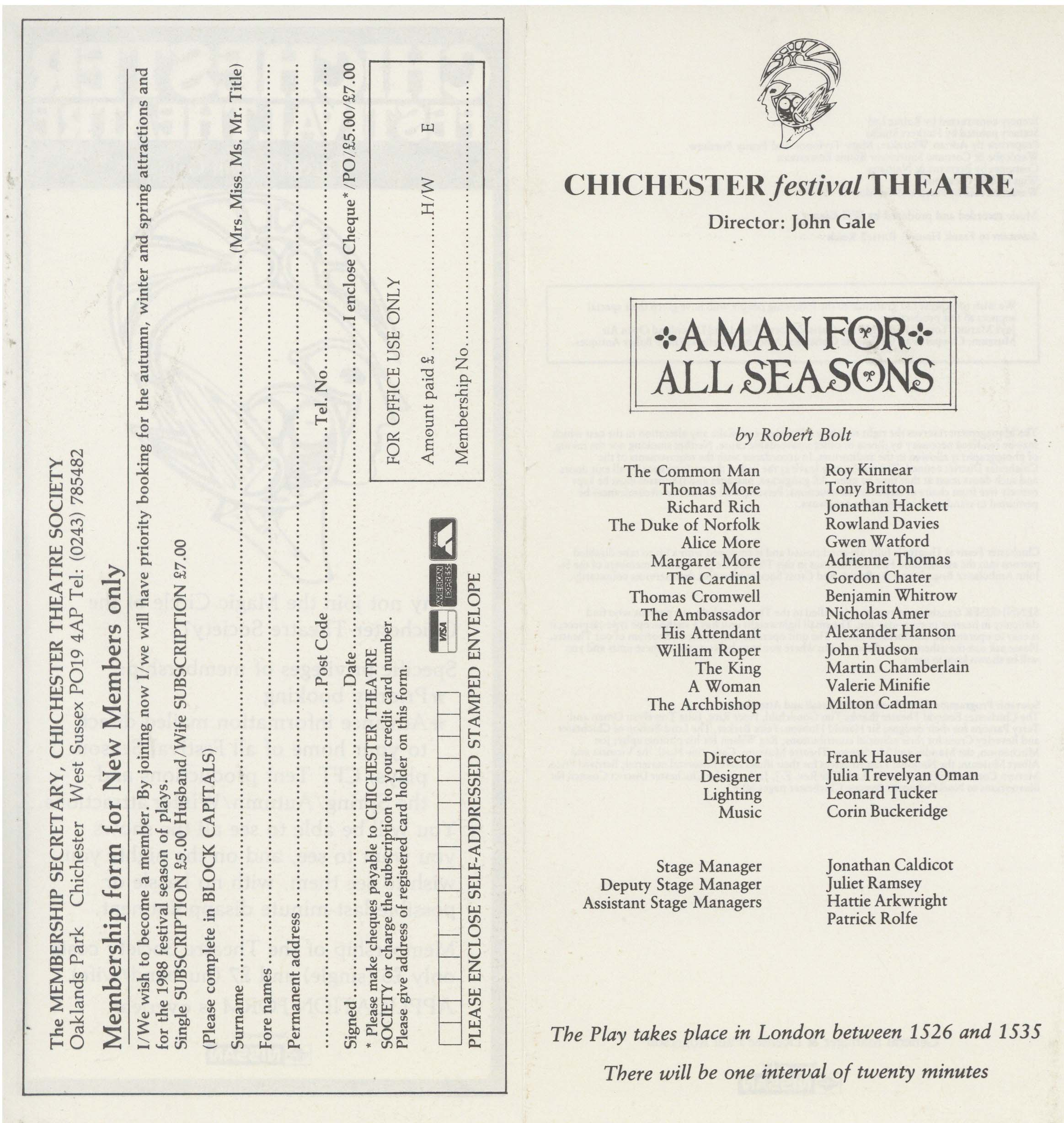 Cast List - A Man For All Seasons - 1987 - 2 of 2