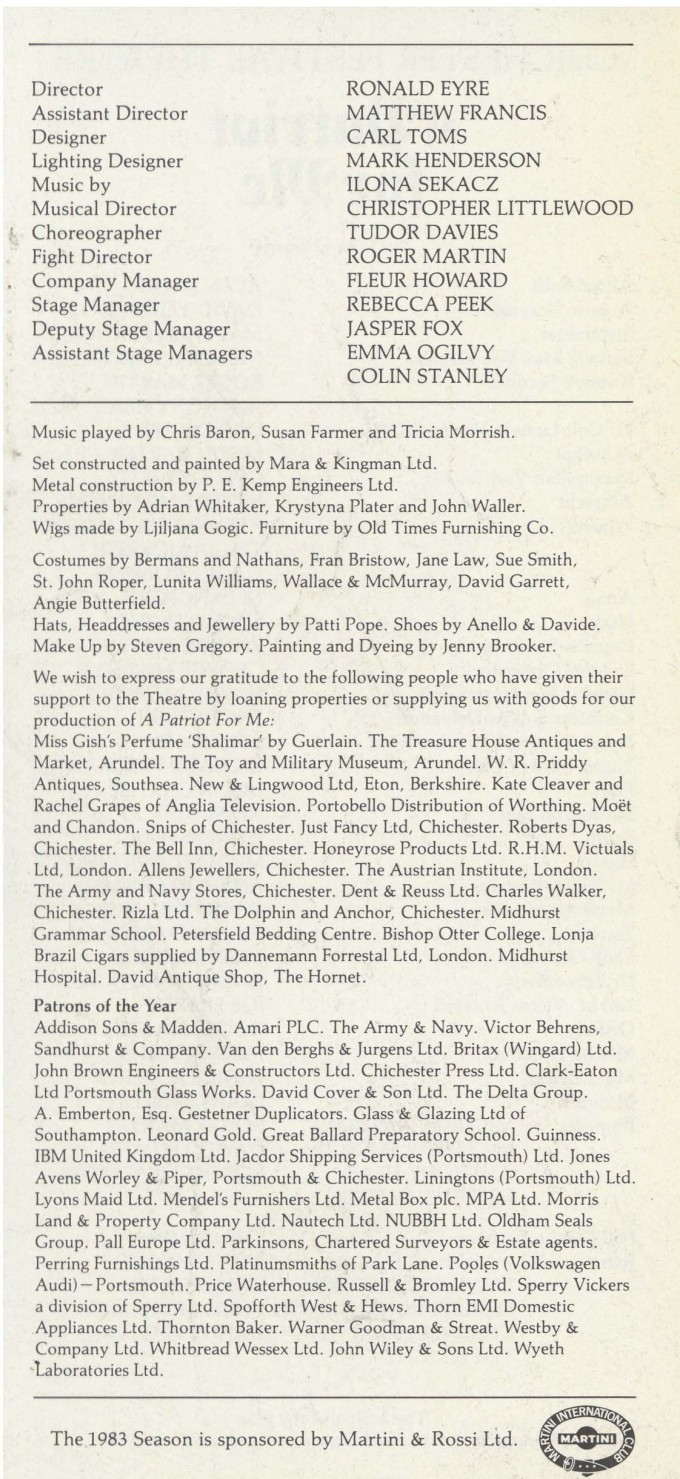 Cast List - A Patriot For Me - 1983 - 2 of 2