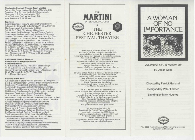 Cast List - A Woman of no Importance  - 1978-  1 of 2