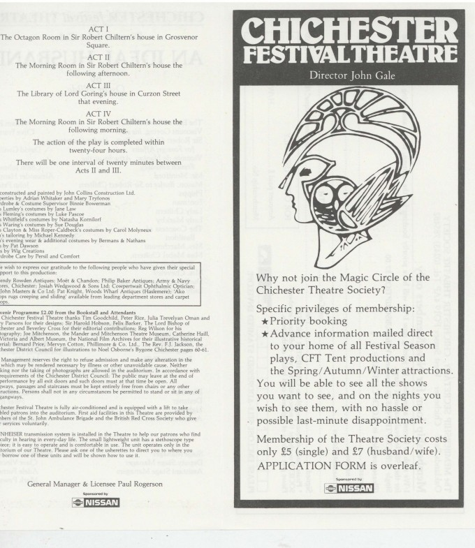 Cast List - An Ideal Husband - 1987 - 1 of 2