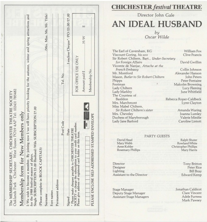 Cast List - An Ideal Husband - 1987 - 2 of 2