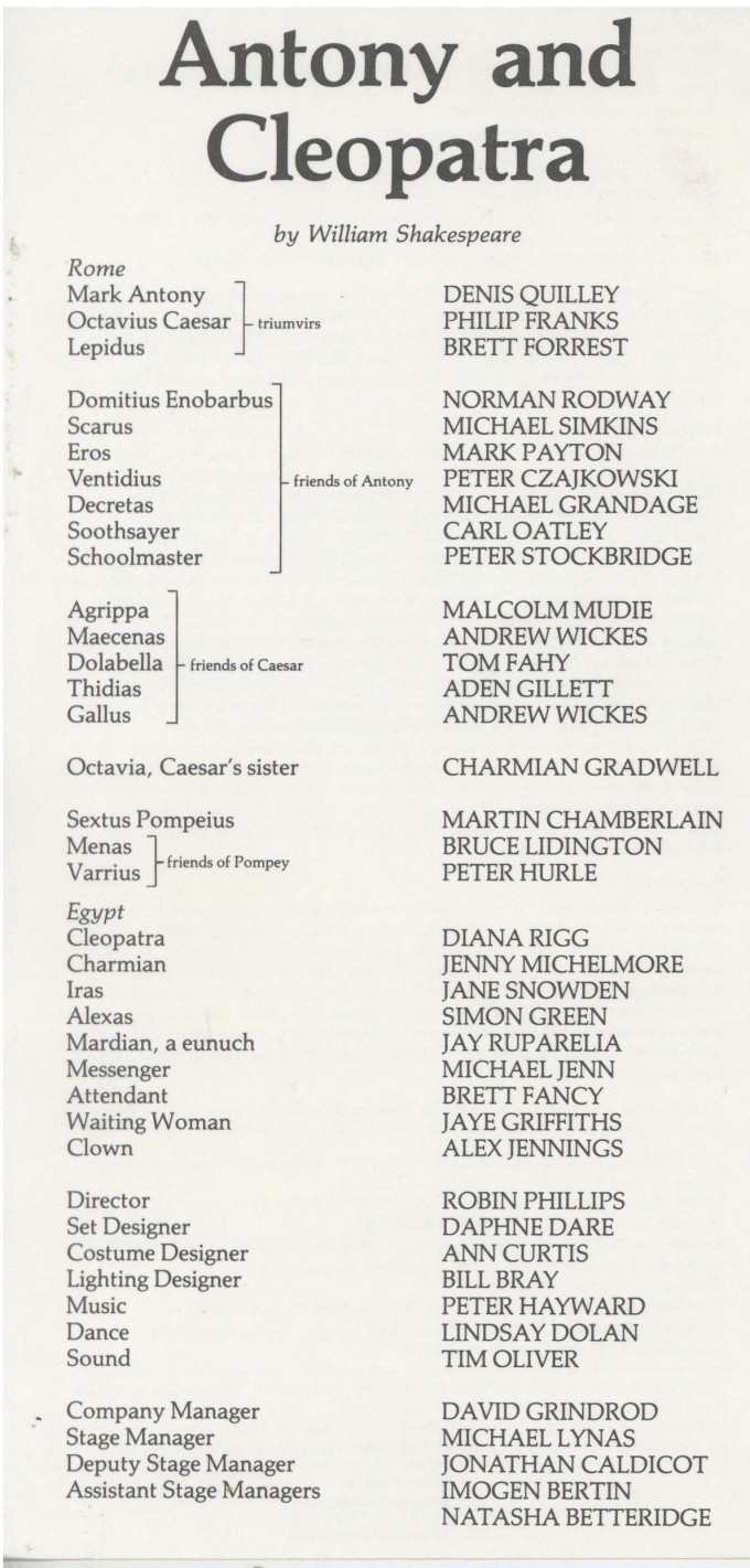 Cast List - Anthony and Cleopatra - 1985 - 1 of 2