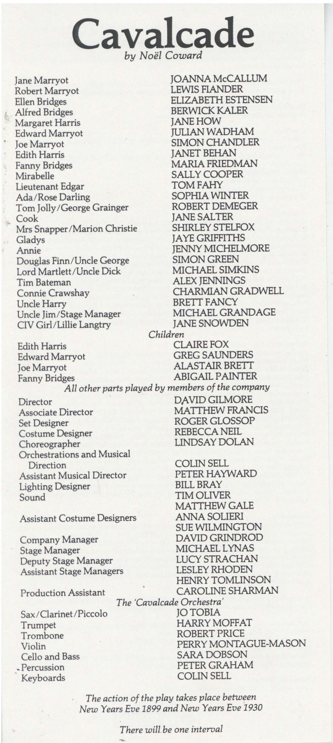 Cast List - Cavalcade - 1985 - 1 of 2