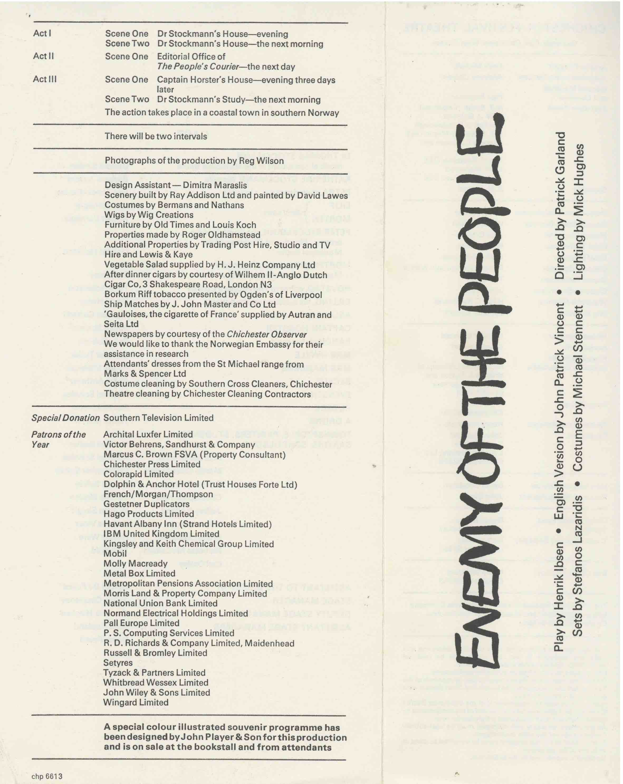 Cast List - Enemy of the People  - 1975- 1 of 2