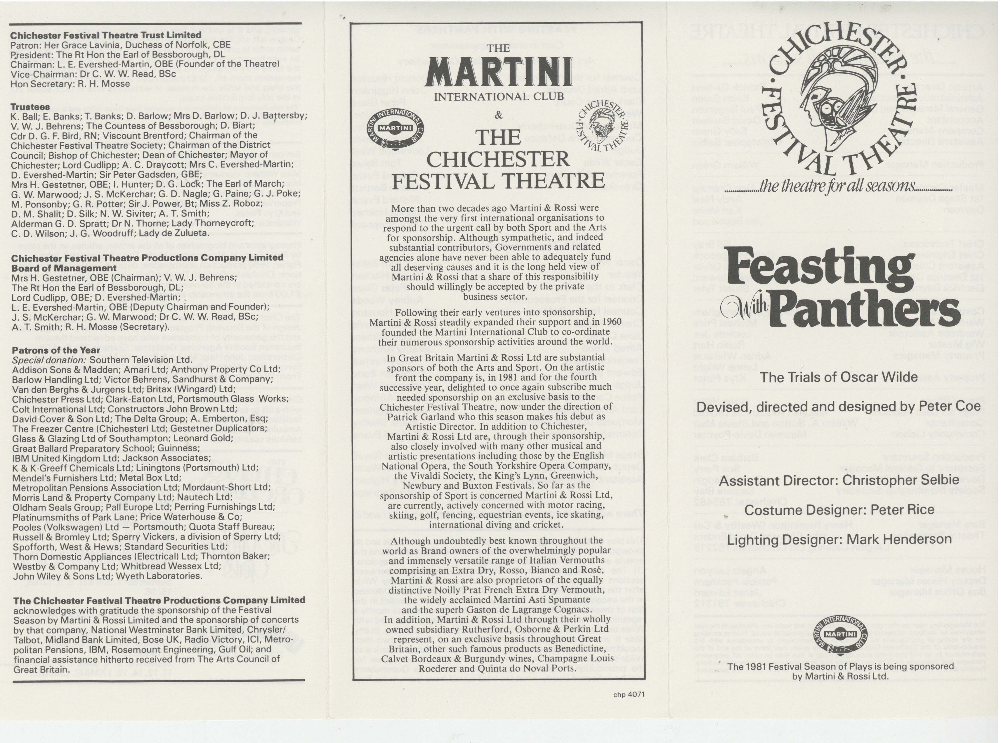 Blueprints festival theatre auditorium 1962 pass it on cast list feasting with panthers 1981 1 of 2 malvernweather Image collections