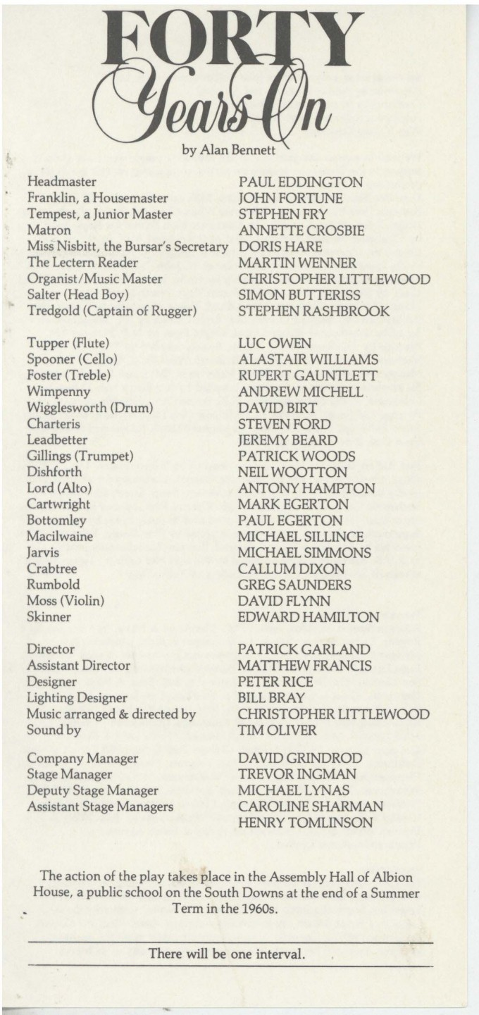 Cast List - Forty Years On - 1984 - 1 of 2
