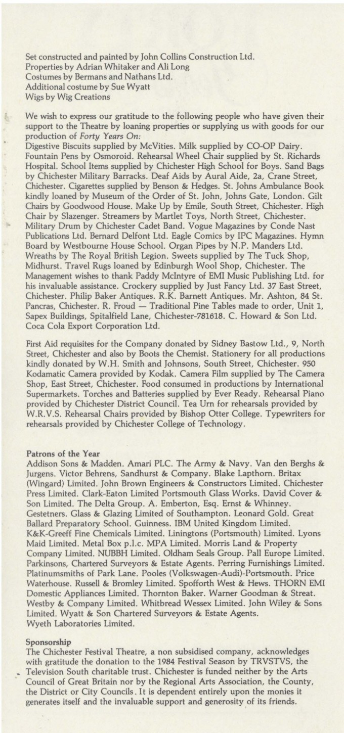 Cast List - Forty Years On - 1984 - 2 of 2