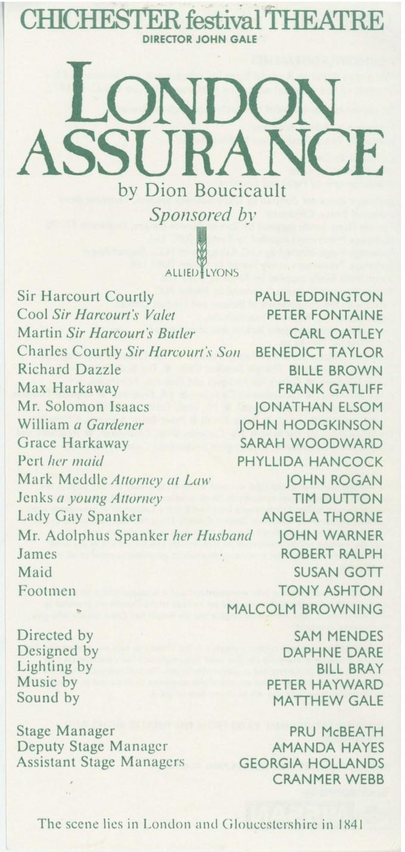 Cast List - London Assurance - 1989 - 1 of 2