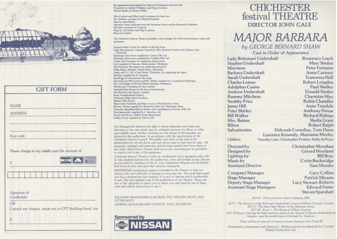 Cast List - Major Barbara - 1988 - 1 of 2