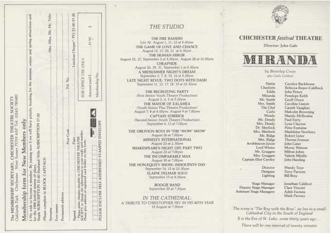 Cast List - Miranda - 1987 - 1 of 2