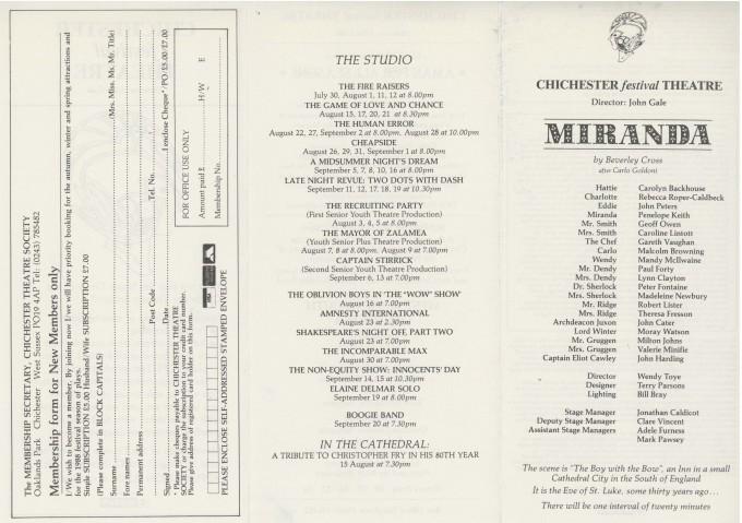 Cast List - Miranda - 1987 - 1 of 2