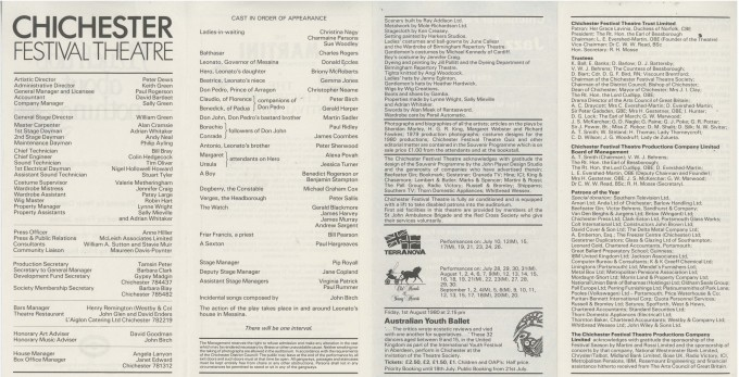 Cast List - Much Ado About Nothing - 1980 - 2 of 2