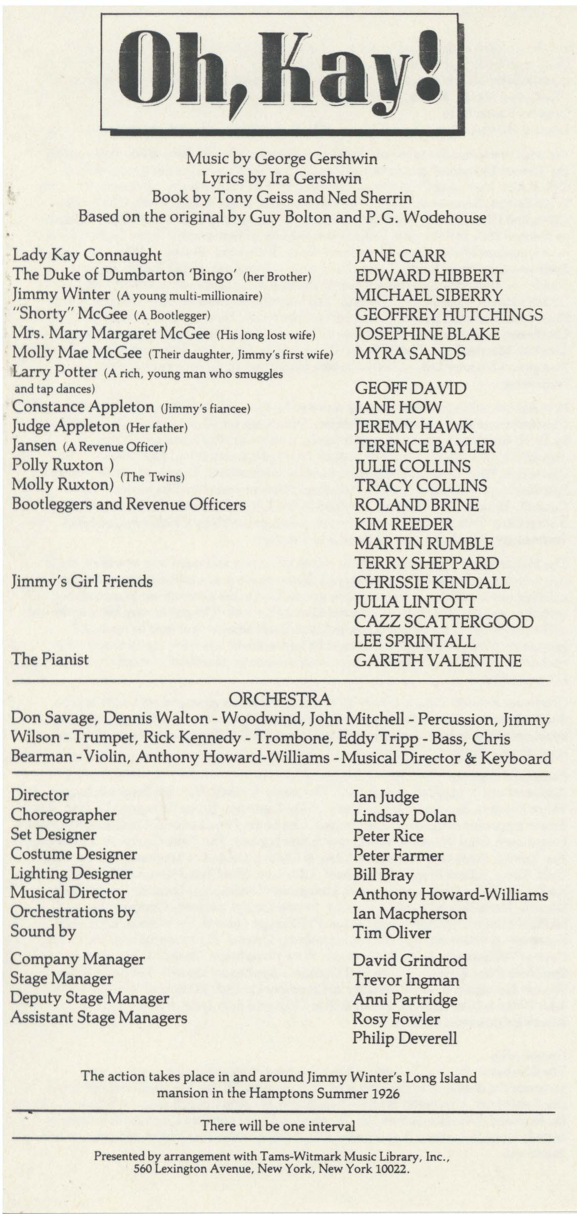 Cast List - Oh, Kay! - 1984 - 1 of 2