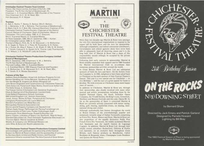 Cast List - On The Rocks - 1982 - 1 of 2
