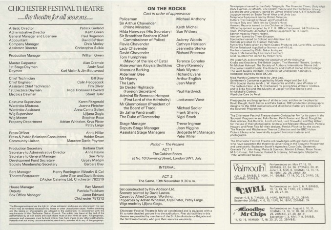 Cast List - On The Rocks - 1982 - 2 of 2