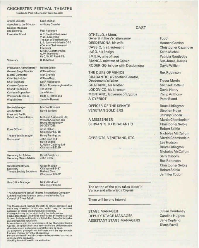 Cast List - Othello  - 1975- 2 of 2