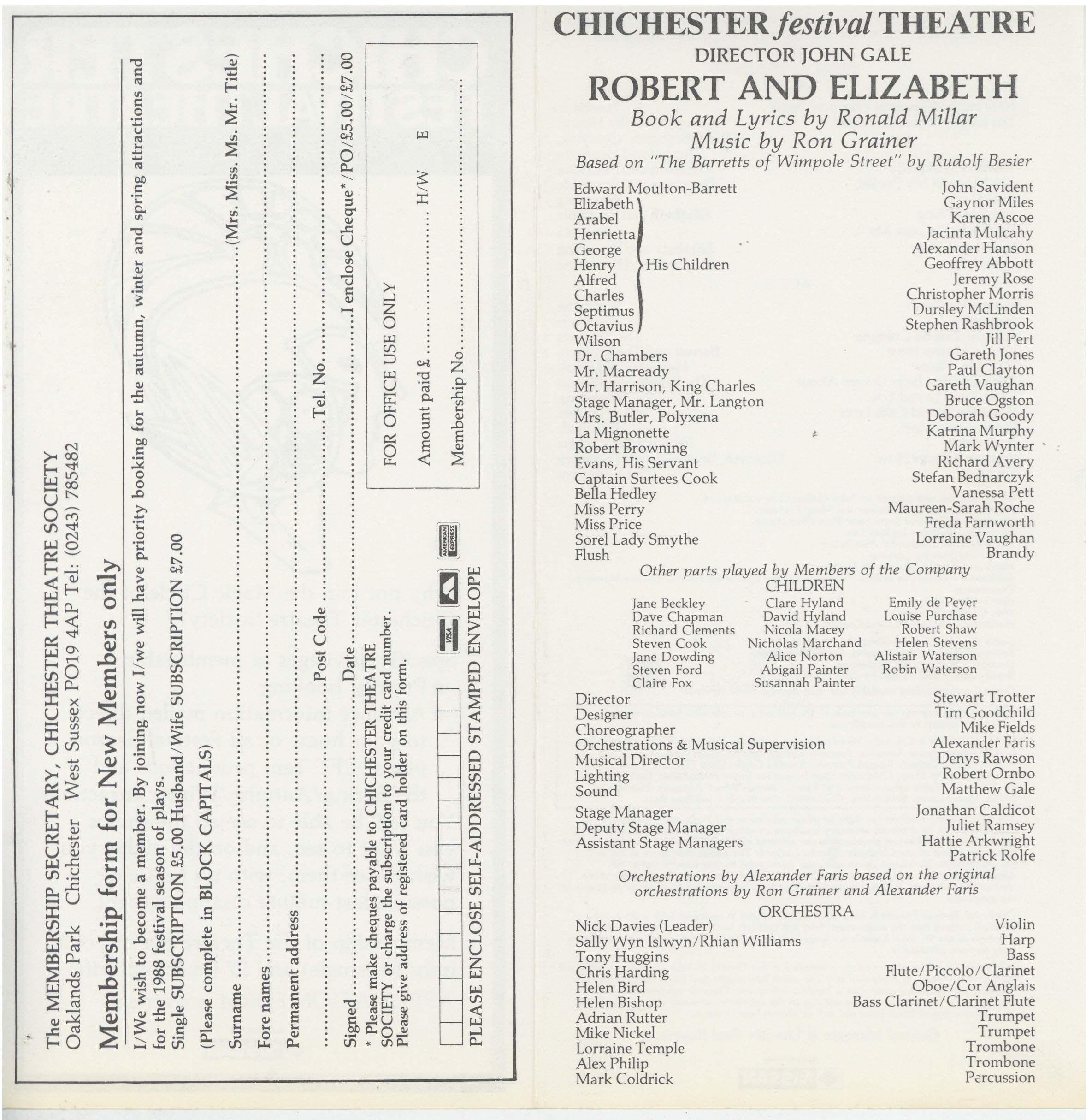 Cast List - Robert And Elizabeth - 1987 - 2 of 2