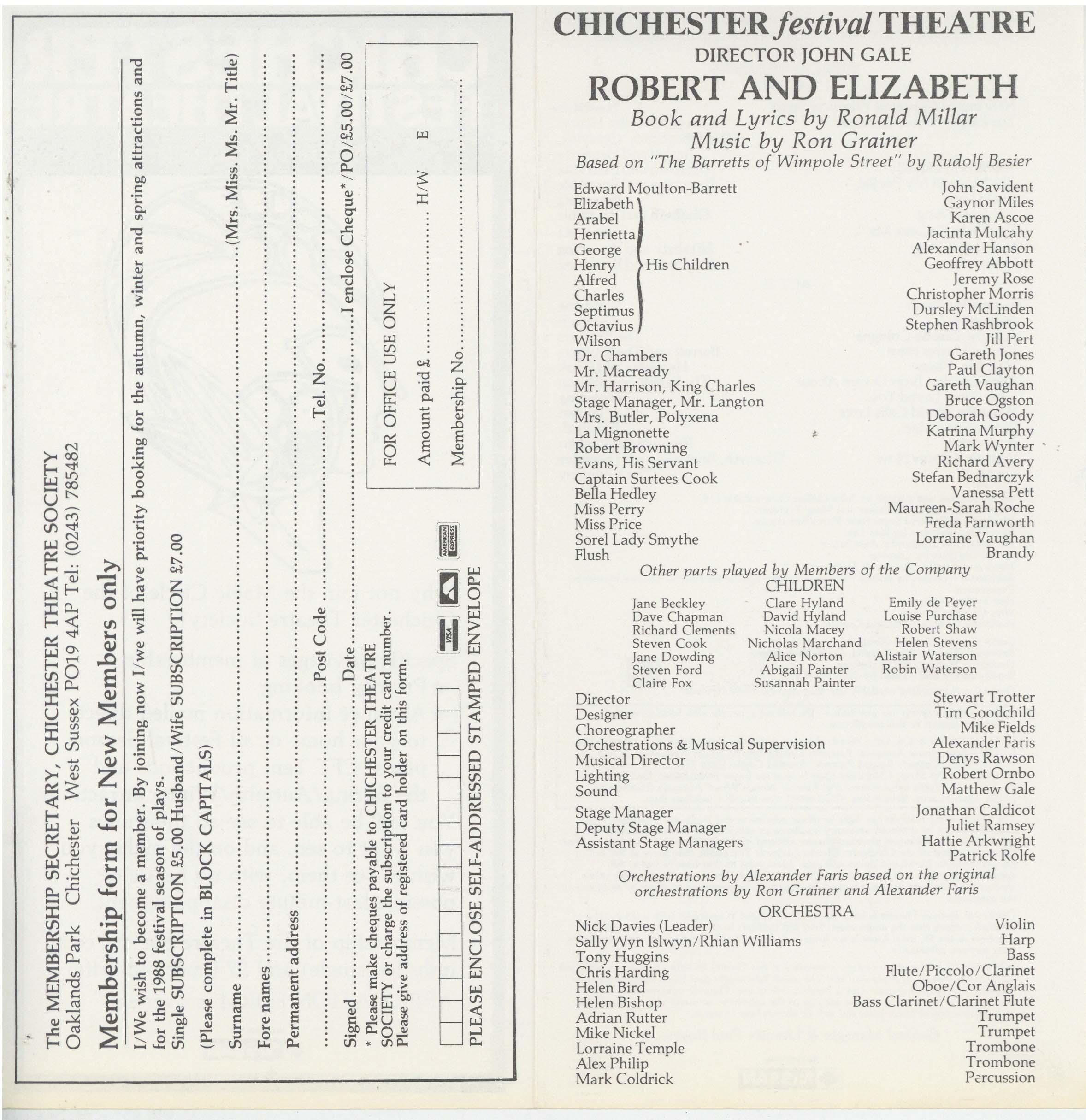 Cast List - Robert And Elizabeth - 1987 - 2 of 2