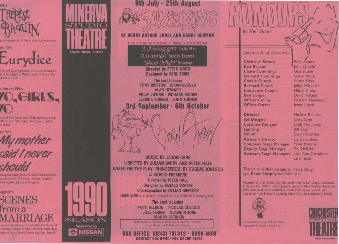 Cast List - Rumours - 1990 - 1 of 2