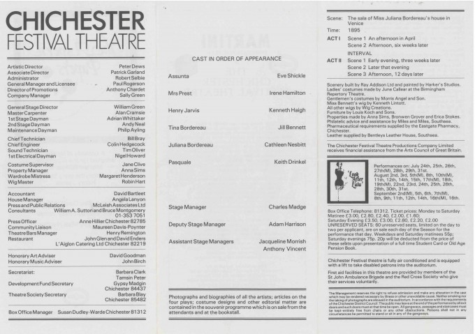 Cast List - The Aspern Papers  - 1978- 2 of 2
