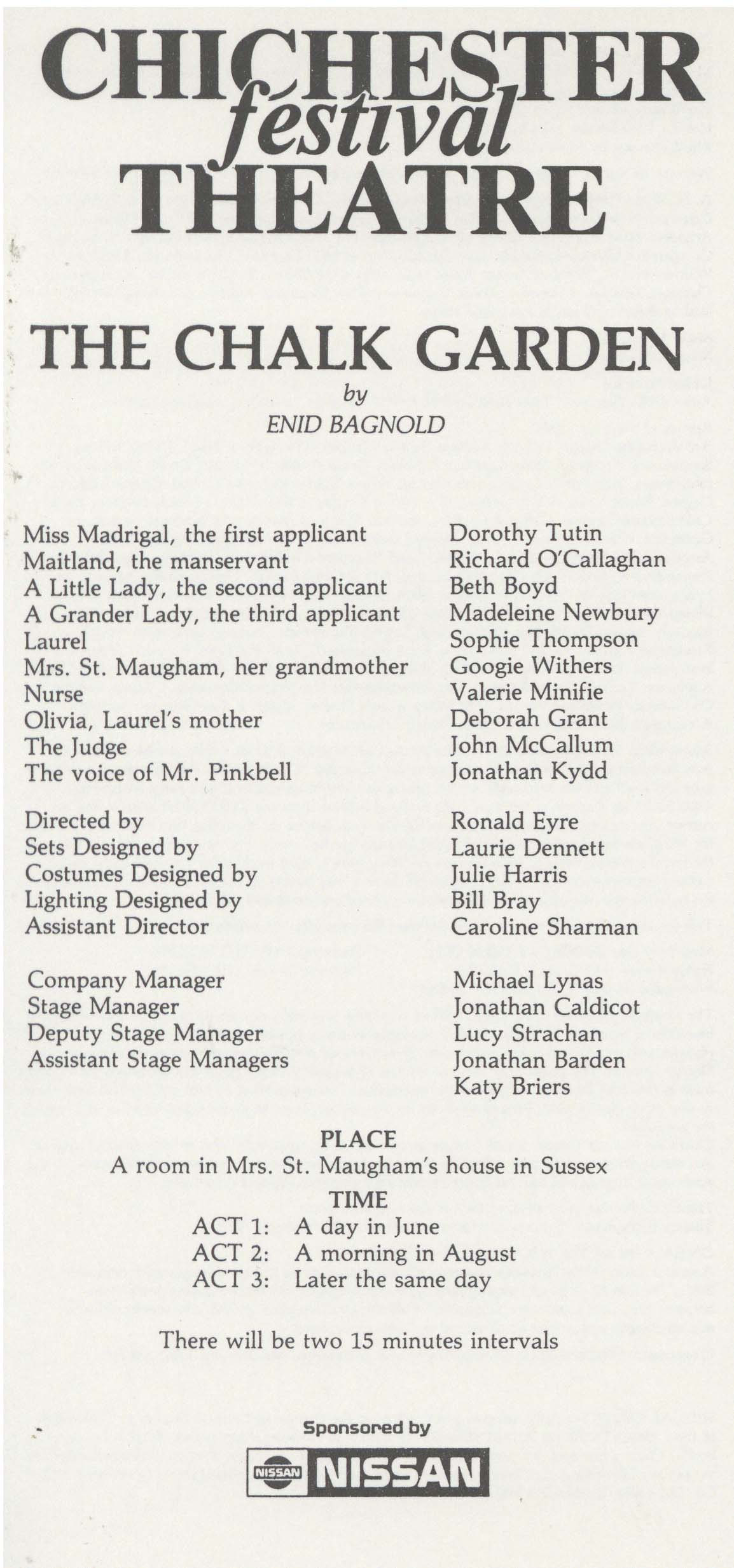 Cast List - The Chalk Garden - 1986 - 1 of 2